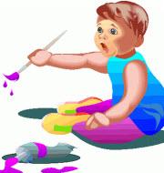 Ett litet barn som målar med pensel