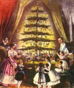 En målning av drottning Victorias juldekoration på 1840-talet